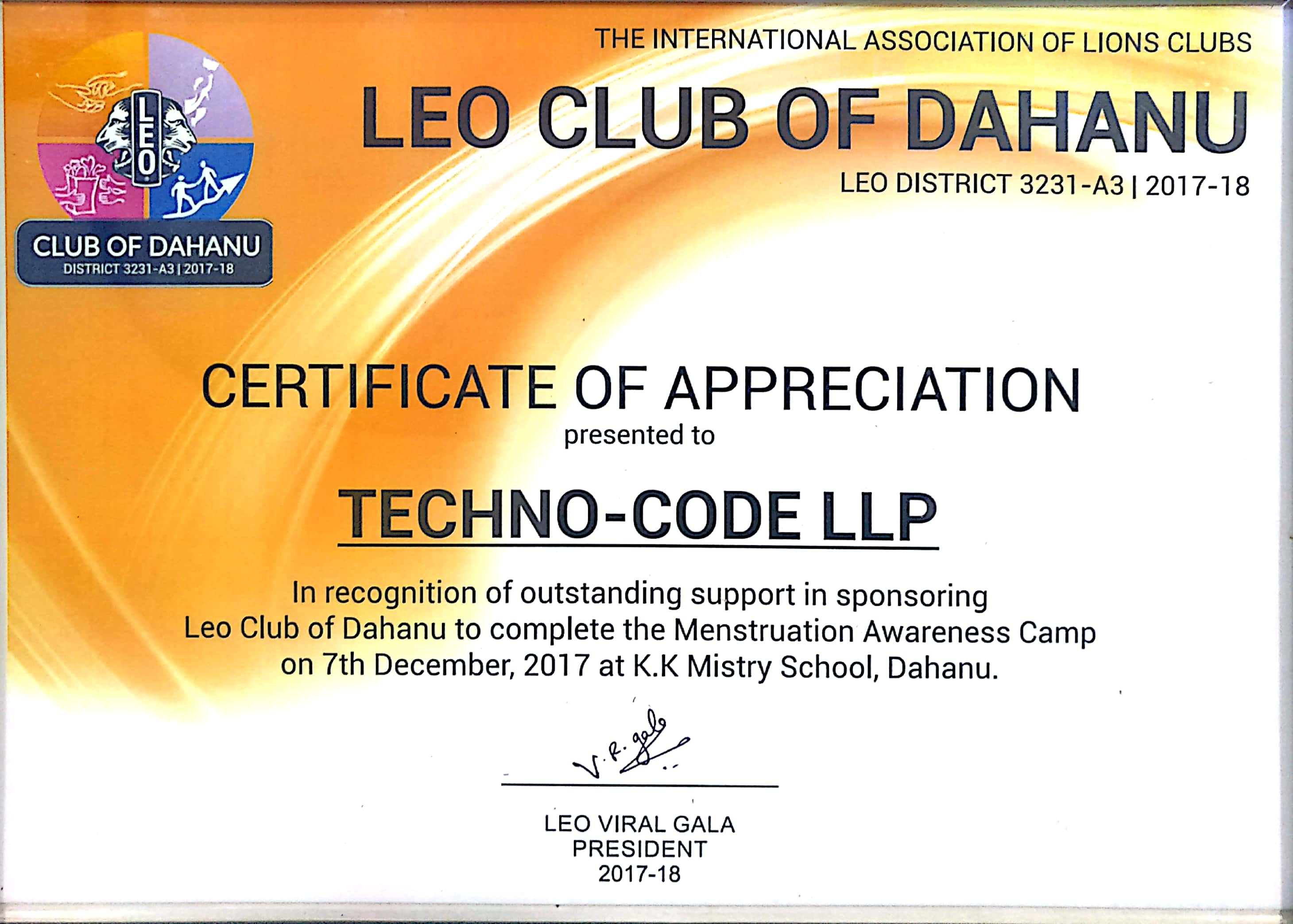 Appreciation Letter from Leo Club