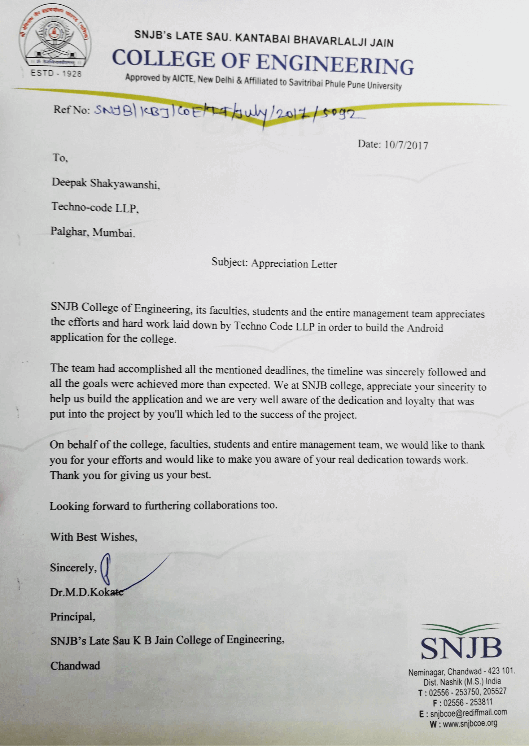 Appreciation Letter from SNJB